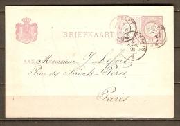 PAYS BAS / NEDERLAND.   .Briefkaart Pour Paris Avec Complèment D'affranchissement. - Ganzsachen