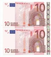 S ITALIA ITALY J008 ..  NOTE BANCONOTA DA 10 EURO  TRICHET RARISSIMA - EURO