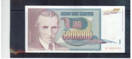 JUGOSLAWIEN , YUGOSLAVIA ,  5Million Dinara ,  Pick #121      ,    1993 - Yugoslavia