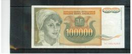 JUGOSLAWIEN , YUGOSLAVIA ,  100 000 Dinara ,  Pick #118      ,    1993 - Yugoslavia