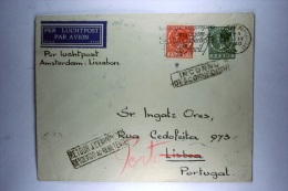 Netherlands: Airmail Cover Amsterdam Portugal Discontinued  Service  And Return To Sender WWII 1940 , Inconnu