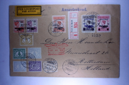 Dutch East Indies  1928 Registered Airmail Cover Fort De Kock  To Rotterdam (B22) Mixed Stamps NVPH LP1-5