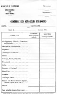 Document Ou Fiche  Vierge Pour Le Contrôle Des Voyageurs étrangers Pour Les Hôtels, - Police