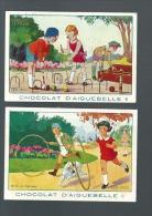 T212 - CHROMOS CHOCOLAT AIGUEBELLE - LES JEUX - 20 LE CROQUET - 4 LE CERCEAU - Aiguebelle