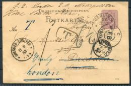 1883 Germany D.Reich 5 PF. GSK V. BERLIN 10/9 83 N. DRESDEN + Weiterleitung Redirected - Hotel London - Postage Due Taxe - Briefe U. Dokumente