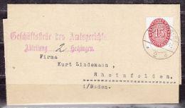 Faltbrief, EF Dienstmarke, Hechingen Nach Rheinfelden 1930 (41853) - Covers & Documents