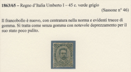 Effigie Di Umberto I II Emissione - 1889 - 45 Cent. Verde Oliva (Sassone 46) - Neufs