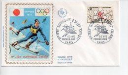 REF A1   : Enveloppe Premier 1er Jour FDC First Day Cover Paris Jeux Olympiques D'hiver Sapporo - Non Classificati