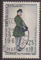 Francia 1967 Scott B408 Sello º Personajes Cartero Dia Del Sello 0,25+0,10F France Stamps Timbre Frankreich Briefmarke - Francia
