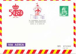 """Espagne 1987 """" La Caravelle Santa Maria, Colomb """" Entier-enveloppe Edifil Nº 7 - Christopher Columbus"""