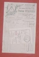 CORSE BASTIA- Rue Des TERRASSES FACTURE Tabacs Cigares Coutellerie Chasse Peche CRUCIEN STAGNARA Mandat 1910 - Sports & Tourisme