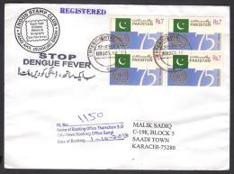 """STOP DENGUE FEVER"" Slogan - Registered Cover From EXPERIMENTAL P.O. KP-2063 Sangi Sindh PAKISTAN 1.10.2013 Health ILO - Pakistan"