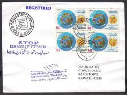 """STOP DENGUE FEVER"" Slogan - Registered Cover From EXPERIMENTAL P.O. KP-2063 Sangi Sindh PAKISTAN 1.10.2013 Health World - Pakistan"