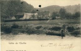 Logne (Vieuxville ) - Vallée De L'Ourthe, Barque Sur La Rivière -  1901 - Précurseur ( Voir Verso  ) - Ferrières