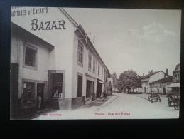 CP Carte Postale Fraize Rue De L'Eglise Animée Avec Enseigne Bazar (5) - Fraize