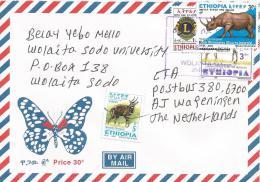 Ethiopia 2011 Wolayta Soddo University Village Postmark Antilope Rhinoceros Lions Club Cover - Ethiopië