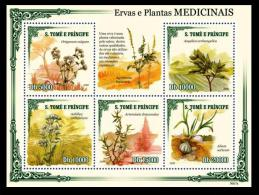 S. Tome MNH 5v SS, Medicine Plants, Artemisia Vulgaris, Garlic, - Medicina