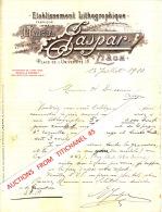 Lettre 1910 - LIEGE - MAISON JASPAR - Lithographie, Typographie, Gravure, Autographie, Fabrique De Registres - Sin Clasificación
