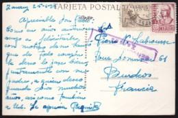 Espagne Carte Postale Zarauz Detalle De La Costa Censura Militar Zarauz 1938 Pour La France - Marcas De Censura Nacional