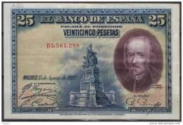 ESPAGNE, SPAIN WPM N°74, 25  PESETAS 1928, Sérial B. ( NB2) - 1-2-5-25 Pesetas