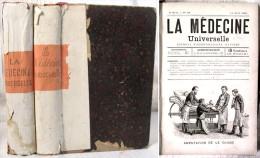 2 Reliures Des Premières Années Du Journal « La Médecine Universelle » /  1890 & 1891 - Magazines - Before 1900