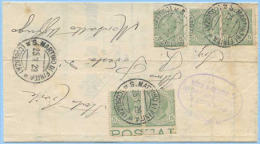 1929 LEONI ULTIMA TIR. C.5 STRISCIA DI 3 + COPPIA PIEGO 25.1.29 TARIFFA RIDOTTA TIMBRO ARRIVO E SPLENDIDA MONOCROMA(A204 - Storia Postale