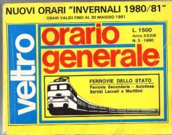 VELTRO ORARIO TIMETABLE FERROVIE TRAIN INVERNO WINTER 1980-1981 XXII OLIMPIADI OLYMPICS MOSCOW HORAIRE CHEMINS DE FER - Europa