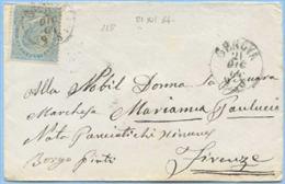 1863 EFFIGIE C.15 (SASSONE L.18) ISOLATO SU BUSTINA DA GENOVA 21.12.64 A FIRENZE 24.12.64 TIMB… LEGGI DESCRIZIONE (5768) - 1861-78 Vittorio Emanuele II