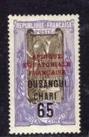 Oubangui N° 67 X  65 Sur 1 F. Violet Et Brun, Trace De Charnière Sinon TB