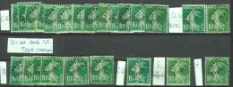 Préoblitéré N°51 - 10c Semeuse Camée Vert - Lot De 41 Exemplaires - Variétés De Surcharges - Unclassified