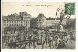 PARIS 11° , La Place De La République , CPA ANIMEE , 1907 - Piazze