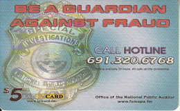 MICRONESIA - National Public Auditor, FSM Tel Prepaid Card $5, Used