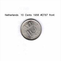 NETHERLANDS    10  CENTS  1956  (KM # 182) - [ 3] 1815-… : Kingdom Of The Netherlands