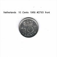 NETHERLANDS    10  CENTS  1968  (KM # 182) - [ 3] 1815-… : Kingdom Of The Netherlands
