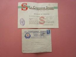 Timbre Gandon Seul Sur Lettre En Tête Compagnie Singer + Bulletin Garantie Machine à Coudre L5B 88 S Meuble F 35 >Amiens - Postmark Collection (Covers)