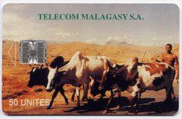 Télécarte 50 Unités Madagascar 05/96 - Zébus, N° En Dessous Ligne - Madagaskar