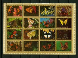 Umm Al Qiwain 1972,16V In Sheetlet,butterflies,vlinders,MNH/Postfris, (L1288) - Vlinders