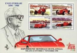 ITALIA - ITALY - ANNO 1998  - FOGLIETTO ENZO FERRARI - BF  - NUOVI MNH ** - 6. 1946-.. Repubblica