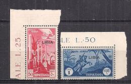 COLONIE ITALIANE LIBIA 1937 POSTA AEREA  SOPRASTAMPATI SASS. 28-29 MNH XF - Libya