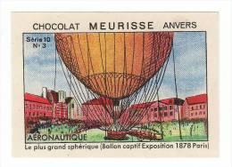 Meurisse - Ca 1930 - 10 - Aéronautique, Aeronautics, Balloon, Zeppelin - 3 - Ballon Captif Exposition 1878 Paris - Chocolate