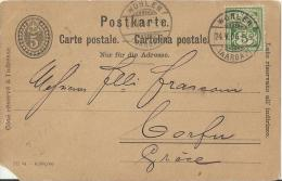 SWITZERLAND 1904 – POSTCARD NOT ILLUSTRATED ADDR TO CORFOU/GREECE  W 1 ST OF 5  POSTM WOHLEN MAY 24,1904 POST1014  PLEAS - Ganzsachen