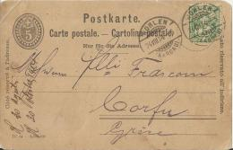 SWITZERLAND 1904 – POSTCARD NOT ILLUSTRATED ADDR TO CORFOU/GREECE  W 1 ST OF 5  POSTM WOHLEN AUG 24,1904 POST1015  PLEAS - Enteros Postales