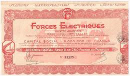 Titres Anciens Forces Electriques Action De Capital Série B De 250 Francs Au Porteur Titre De 1928 - Electricité & Gaz