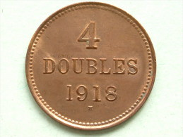 1918 H - 4 DOUBLES / KM 13 ( For Grade, Please See Photo ) !! - Guernesey