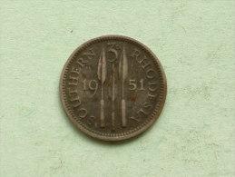 1951 KG - 3 Pence / KM 20 ( For Grade, Please See Photo ) !! - Rhodésie