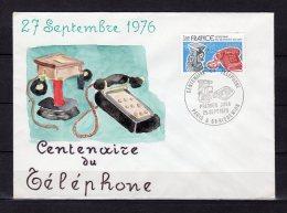 """UNIQUE FDC PEINTE A LA MAIN ! """" 100 ANS DU TELEPHONE """". N° YT 1905. Admirez Le Travail De L'Artiste En Regardant Le Scan - Telecom"""