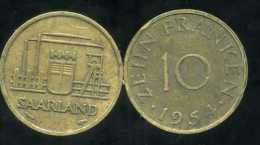 FRANCE  SARRE   10 Franken 1954 - Saar