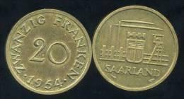 FRANCE  SARRE   20 Franken  1954 - Sarre