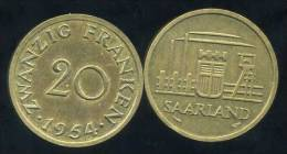 FRANCE  SARRE   20 Franken  1954 - Saar