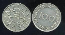 FRANCE  SARRE   100  Franken  1955 - Saar